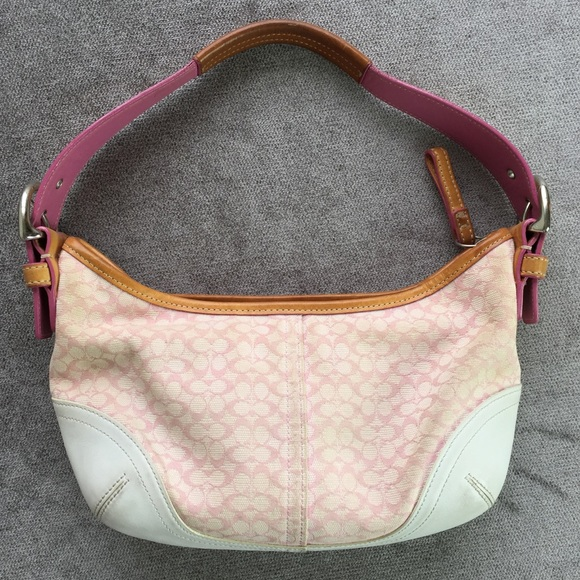 b71d16e6819 Coach Bags   Small Pink And White Leather Logo Purse   Poshmark